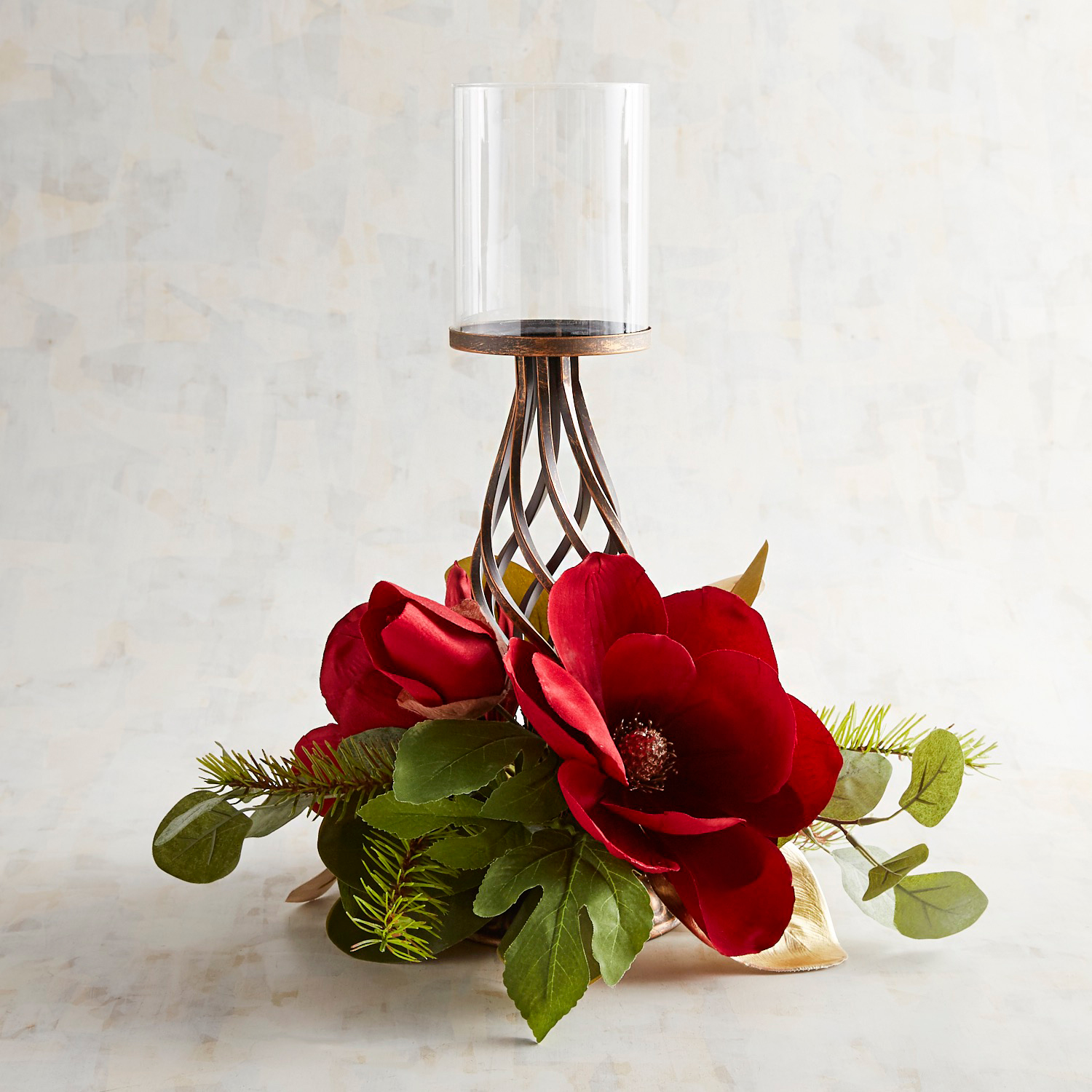 Red Faux Magnolia Pillar Stand Centerpiece Candle Holder