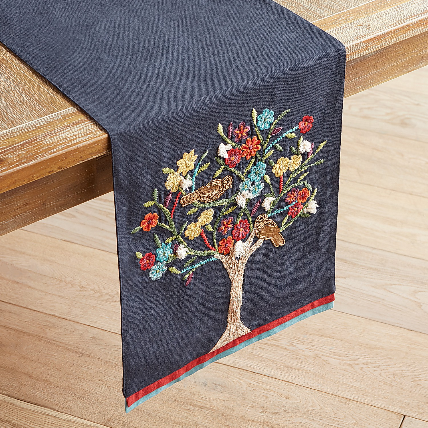 """Floral Tree Blue 72"""" Table Runner"""