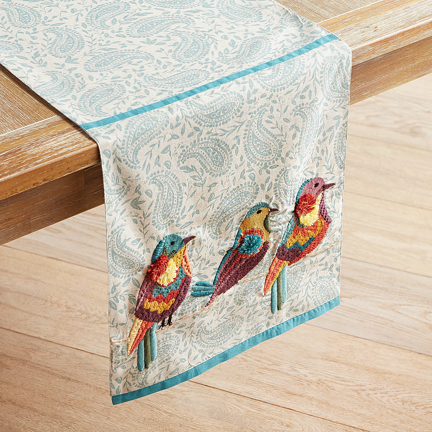 "Colorful Paisley Birds 72"" Table Runner"
