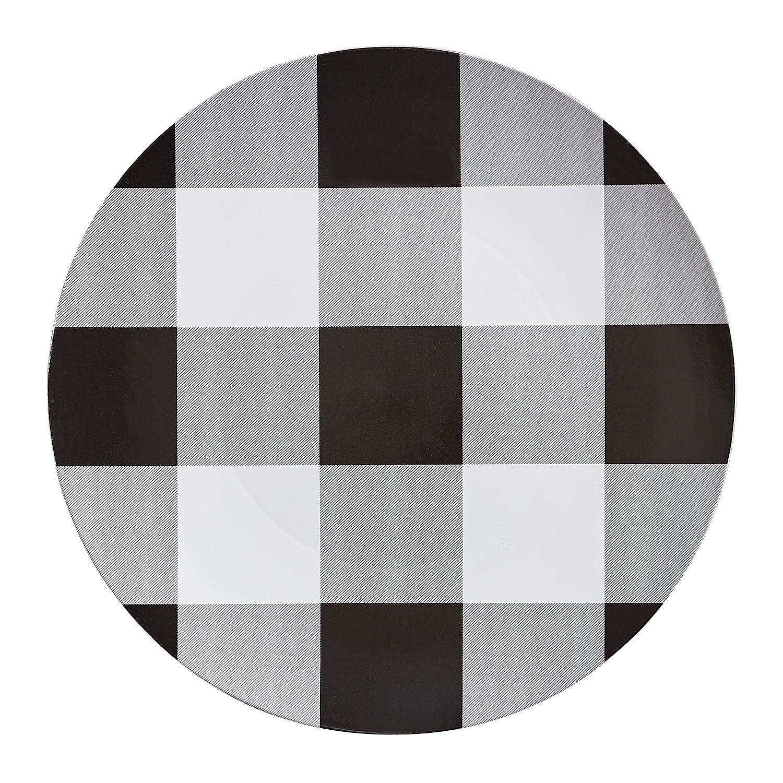 Black & White Buffalo Check Plaid Charger Plate