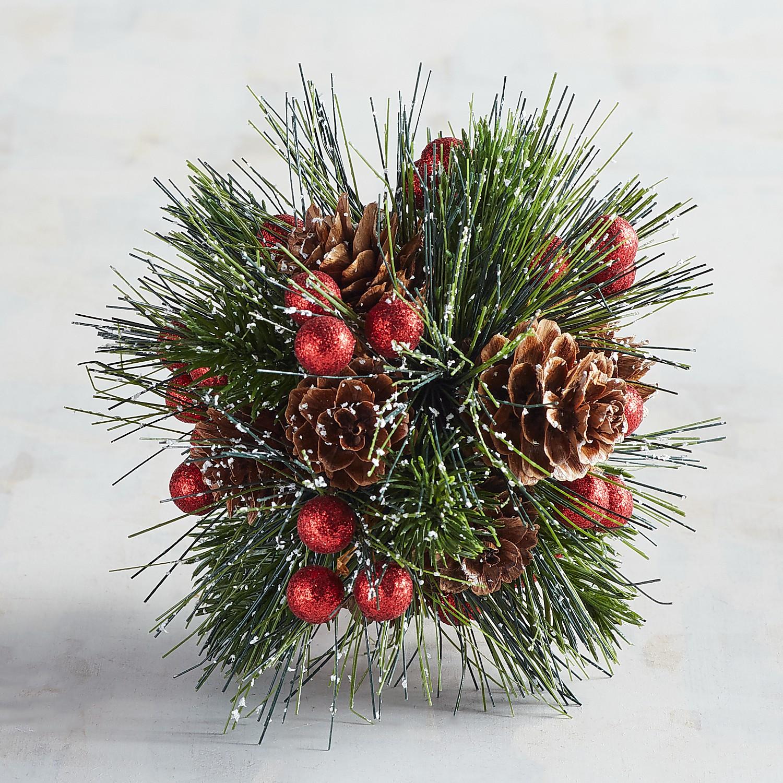 Faux Pine Needle & Berry Decorative Sphere