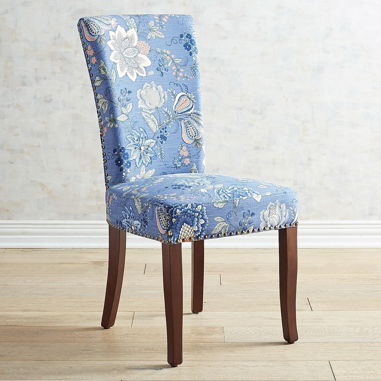 Adelaide Berlin Indigo Dining Chair with Walnut Brown Wood