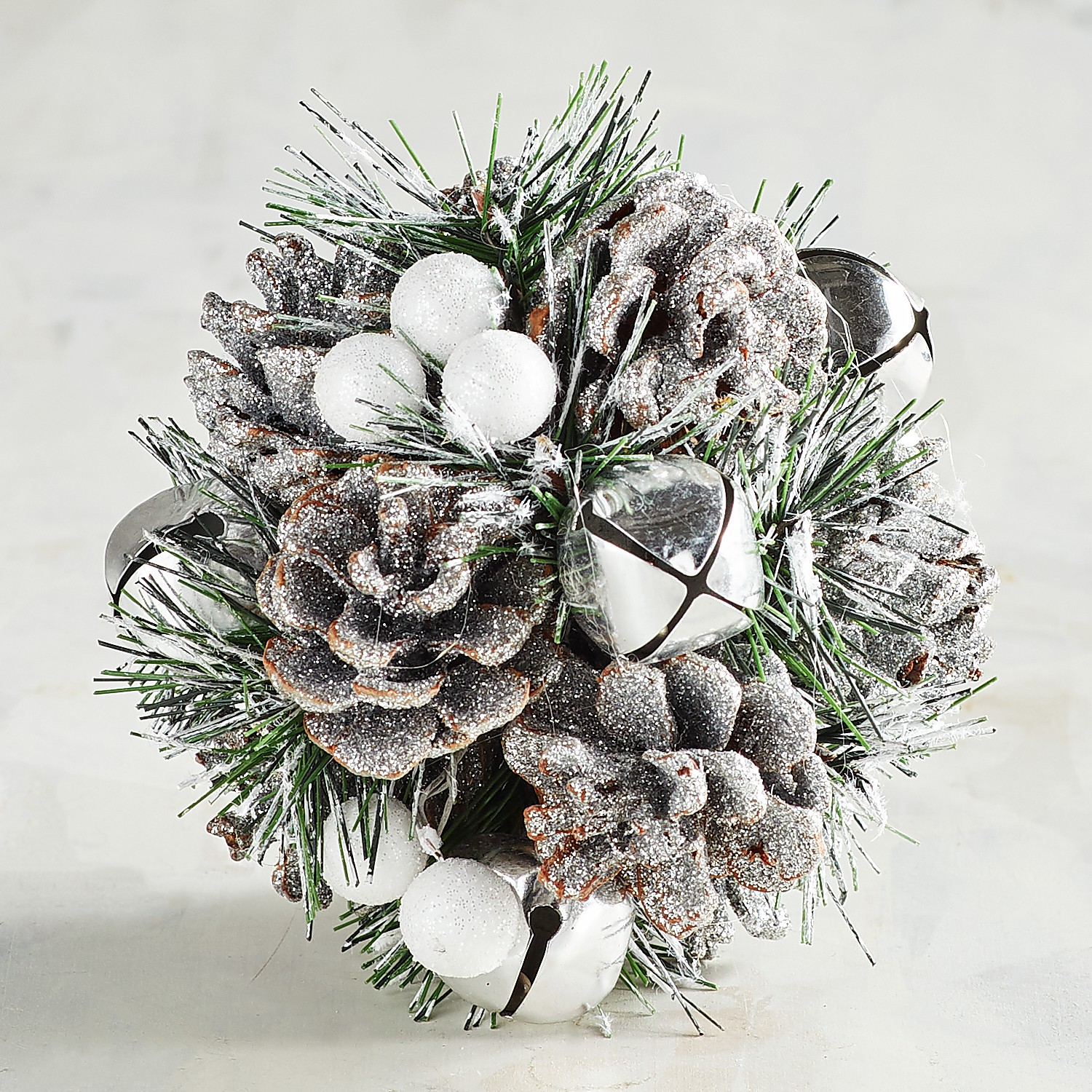 Faux Silver Pinecone & Berry Decorative Sphere