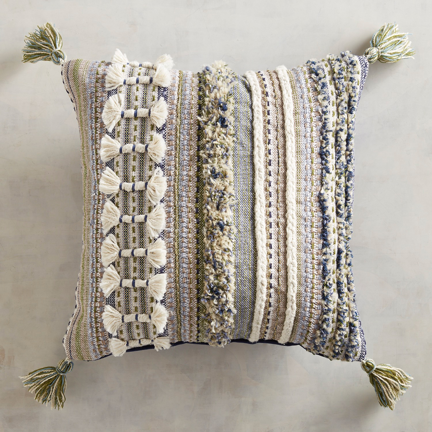 Chunky Textured Blues Pillow with Tassels