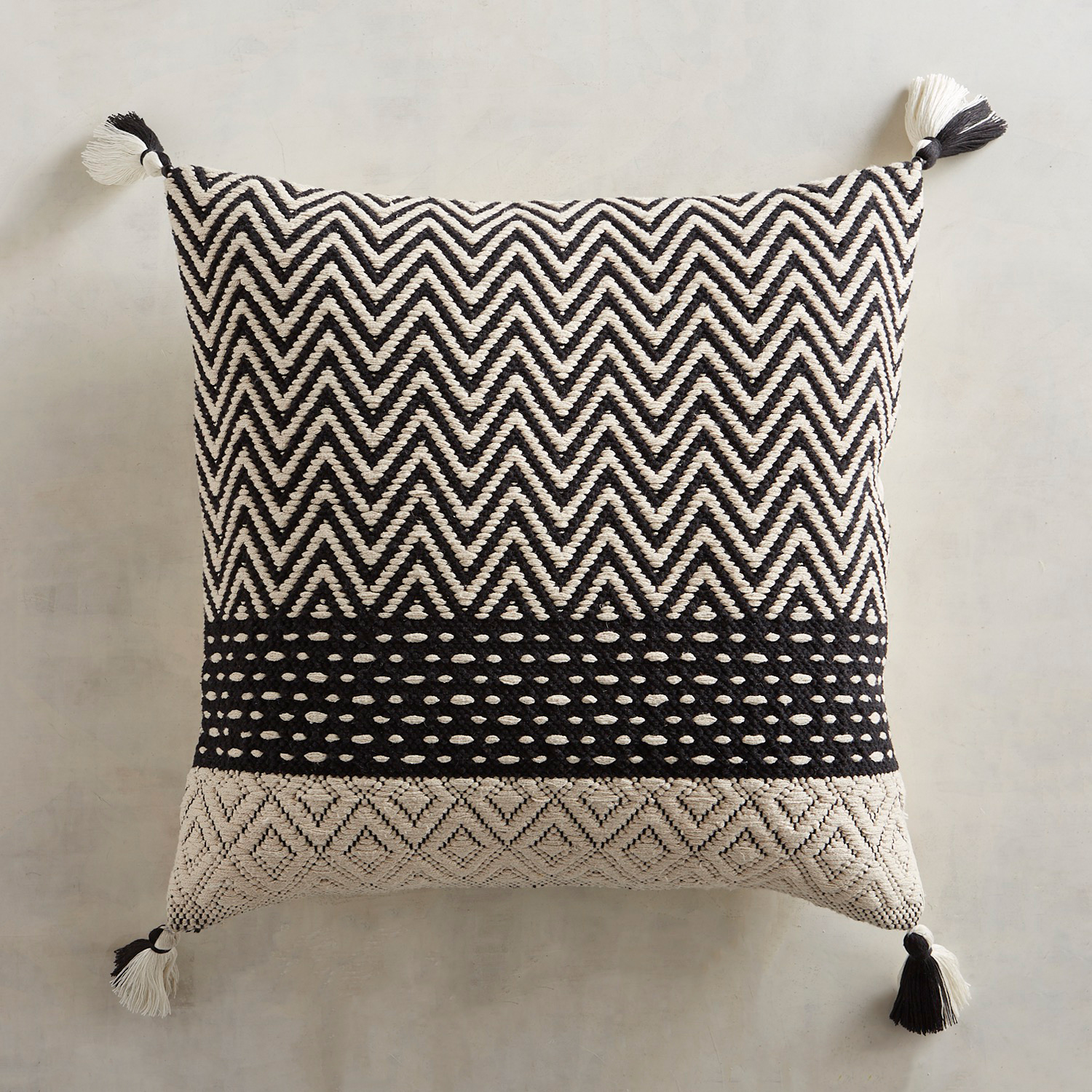 Patterned Black & White Pillow with Tassels