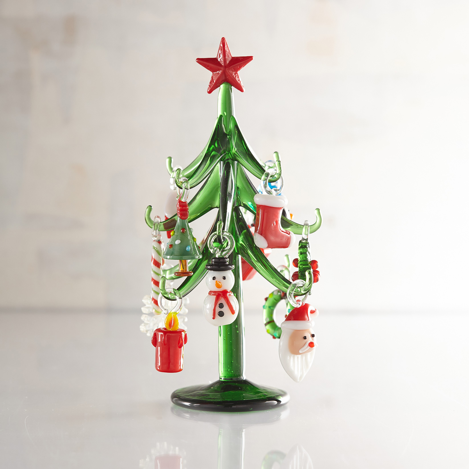 Collectible Glass Tree With Ornaments Christmas Figurine