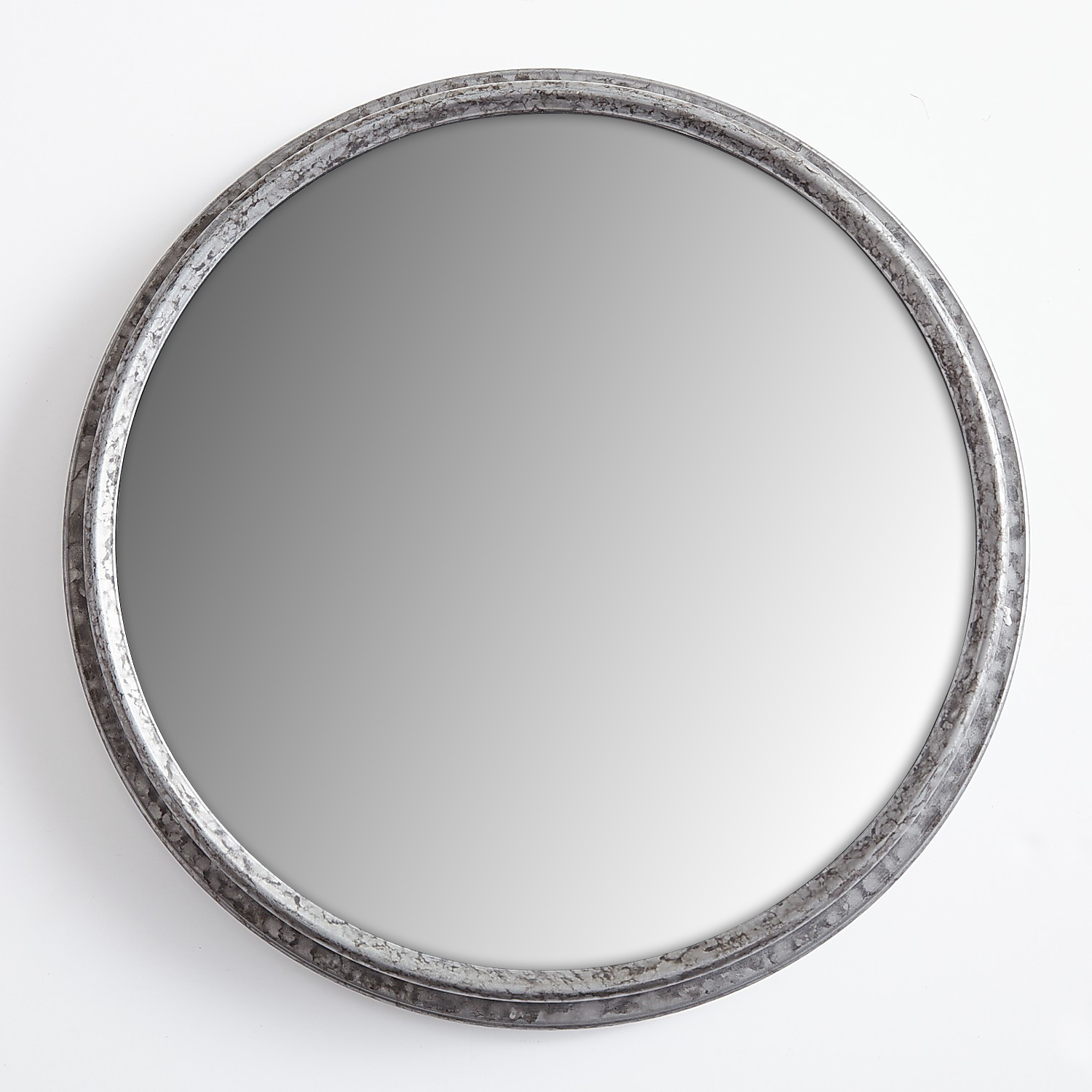 "Simple Galvanized 17.5"" Round Mirror"