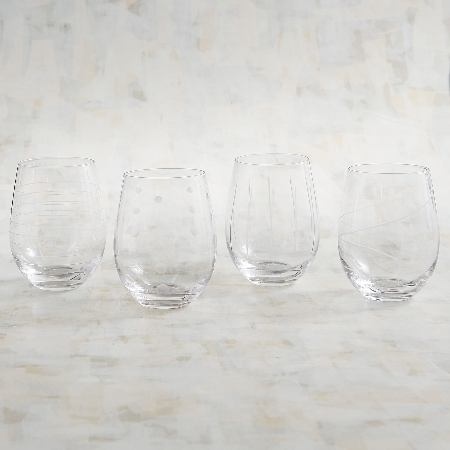 Etched Stemless Wine Glass Set
