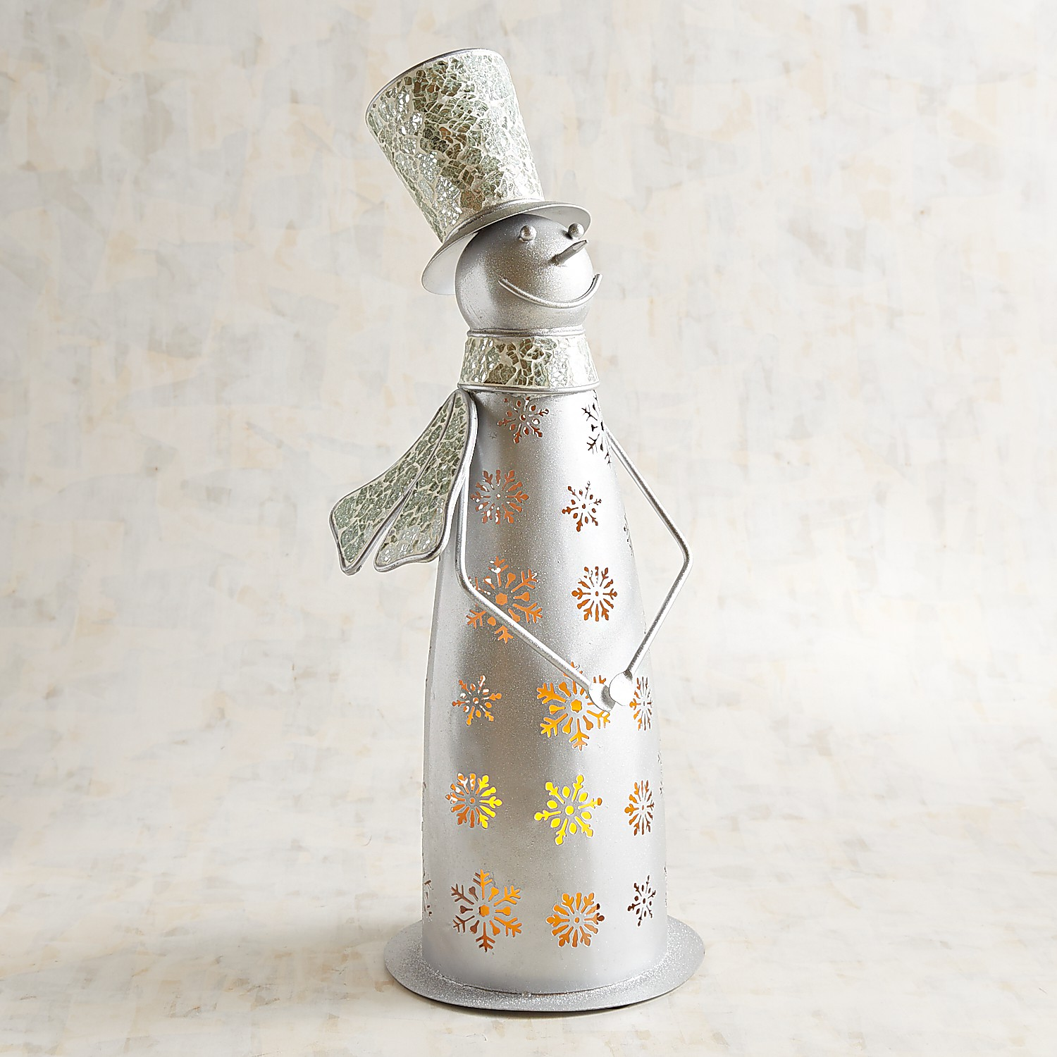 Silver Mosaic Snowman Pillar Candle Holder