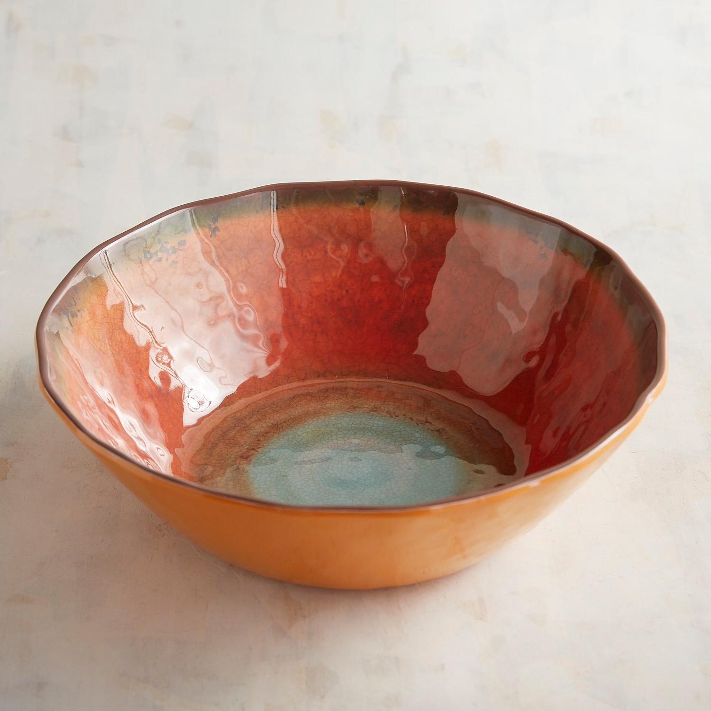 Zahara Orange Melamine Pasta Serving Bowl