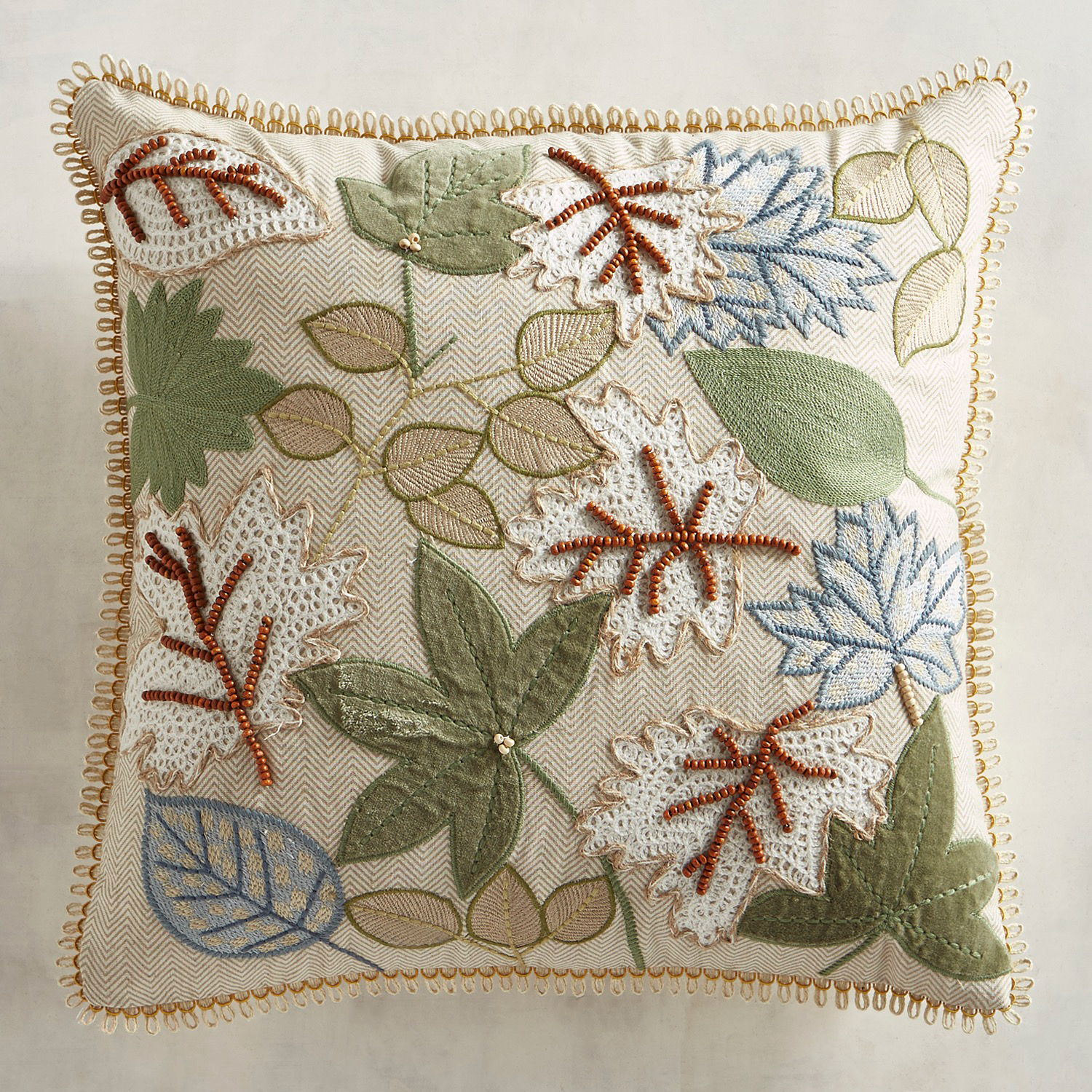 Beaded & Embroidered Leaves Pillow