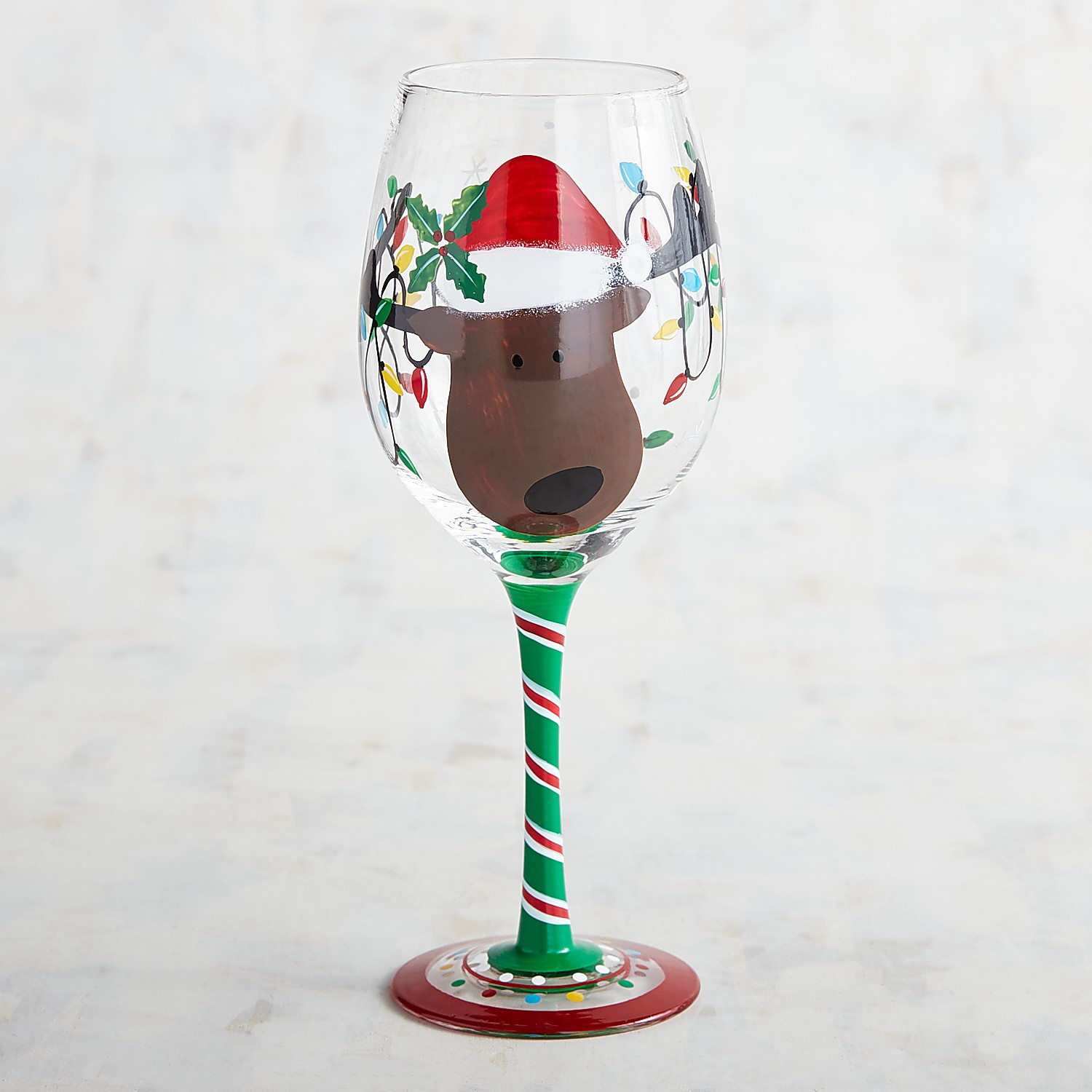 Reindeer Face with Lights Hand-Painted Wine Glass