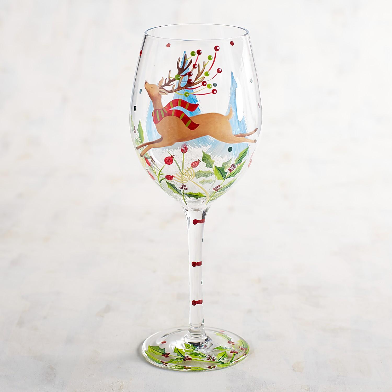 Reindeer in Flight Hand-Painted Wine Glass