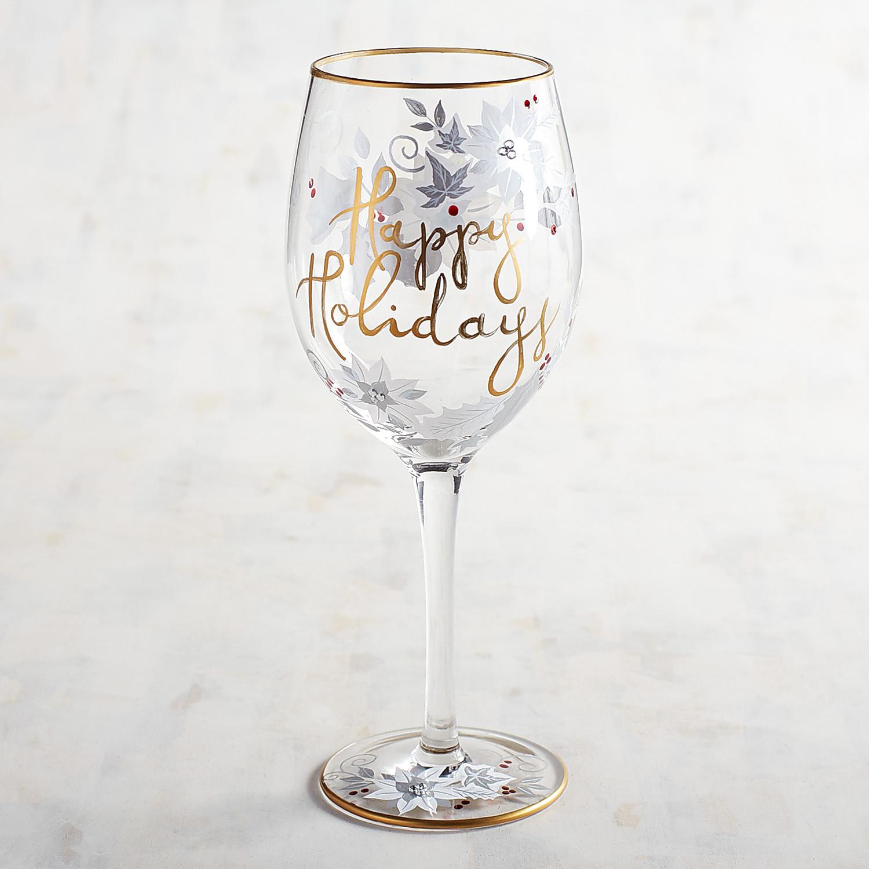 Happy Holidays Hand-Painted Gem Wine Glass