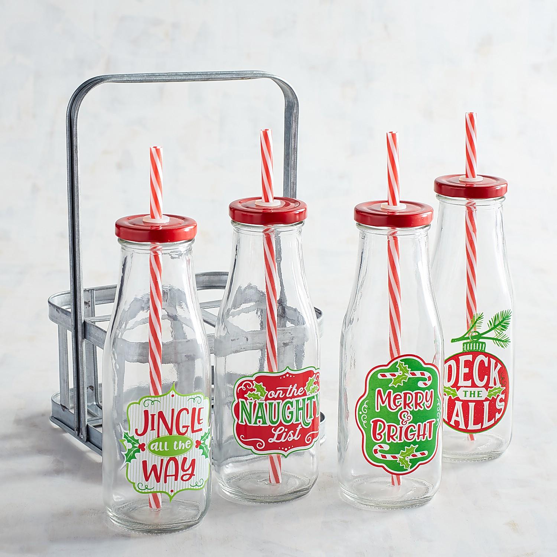 Holiday Milk Bottle Caddy Set