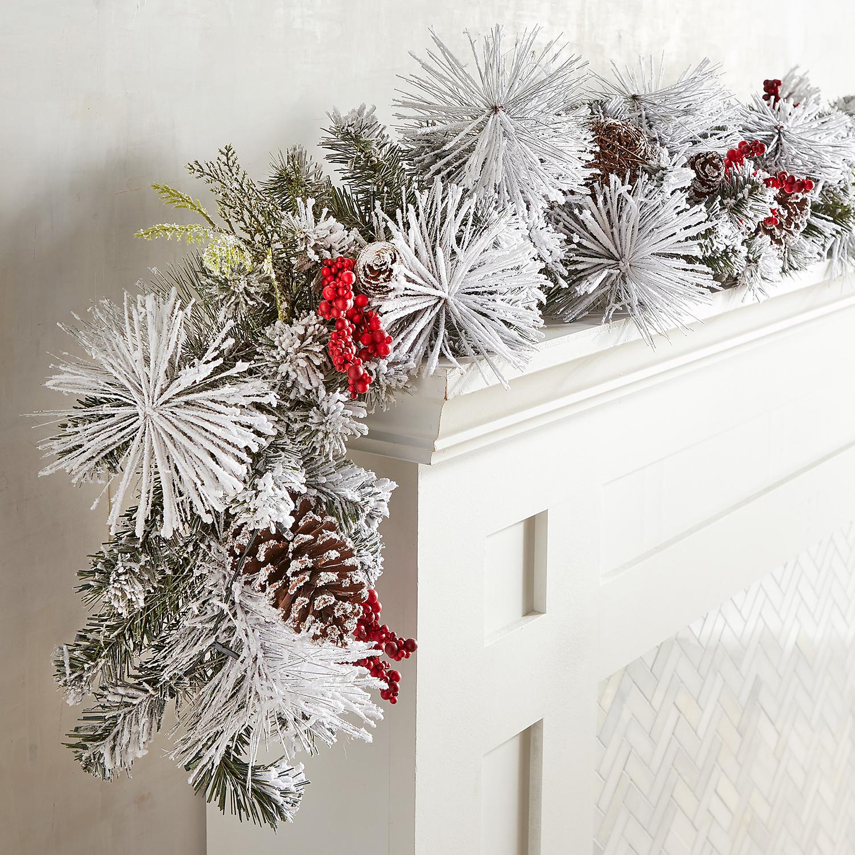 LED Pre-Lit Snowy Faux Pine Berries 6' Garland
