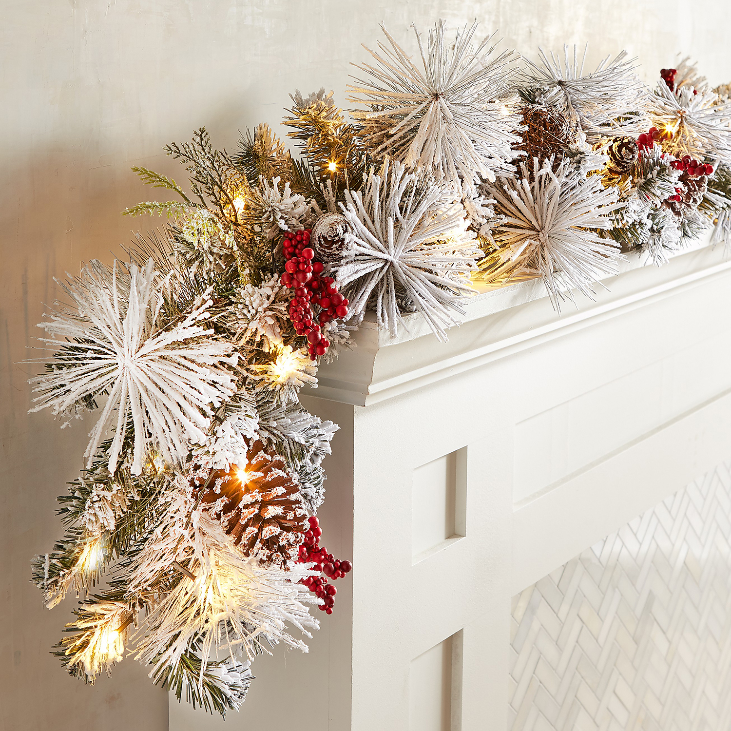 LED Pre-Lit Snowy Faux Pine Berries 9' Garland