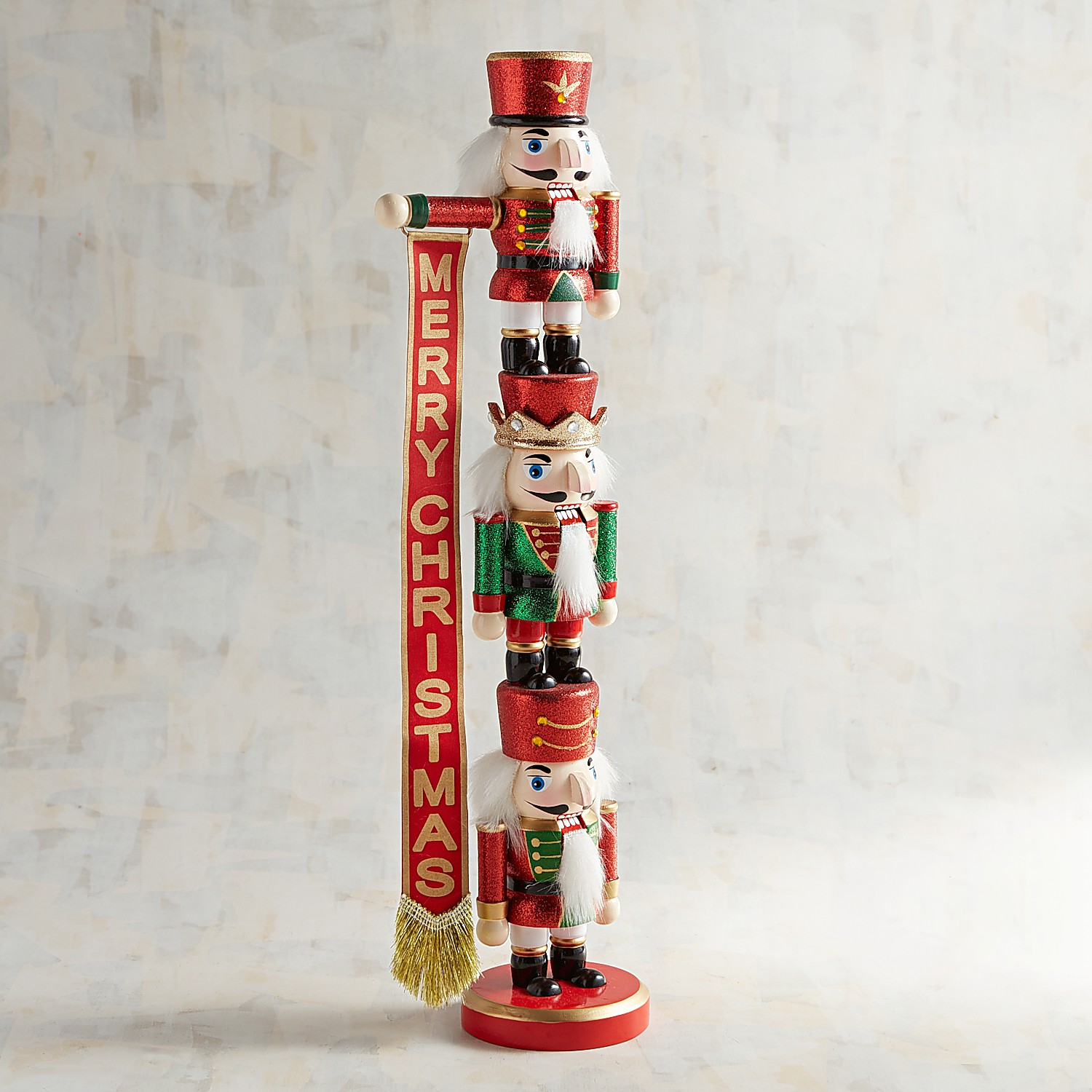 "19"" Stacked Nutcrackers with Banner"