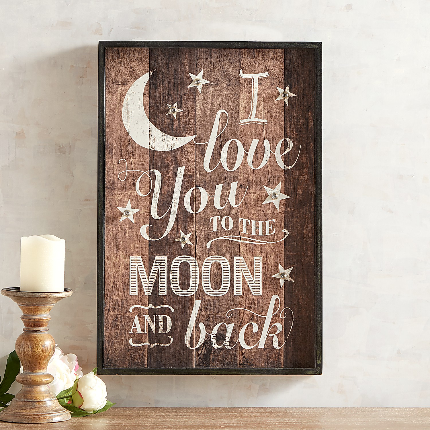 LED Light-Up Love You to the Moon Wall Decor