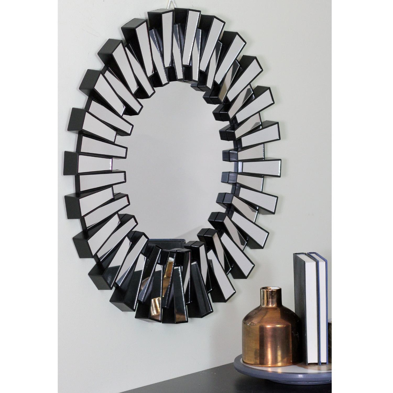 "25.5"" Aztec Inspired Sparkling Sunburst Matte Black Wall Mirror"