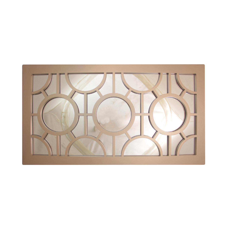 "25.5"" Oyster Gray Geometrical Circles Rectangular Wall Mirror"