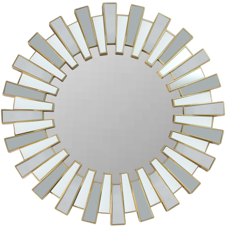 """25.5"""" Aztec Inspired Sparkling Sunburst Matte Gold Wall Mirror"""
