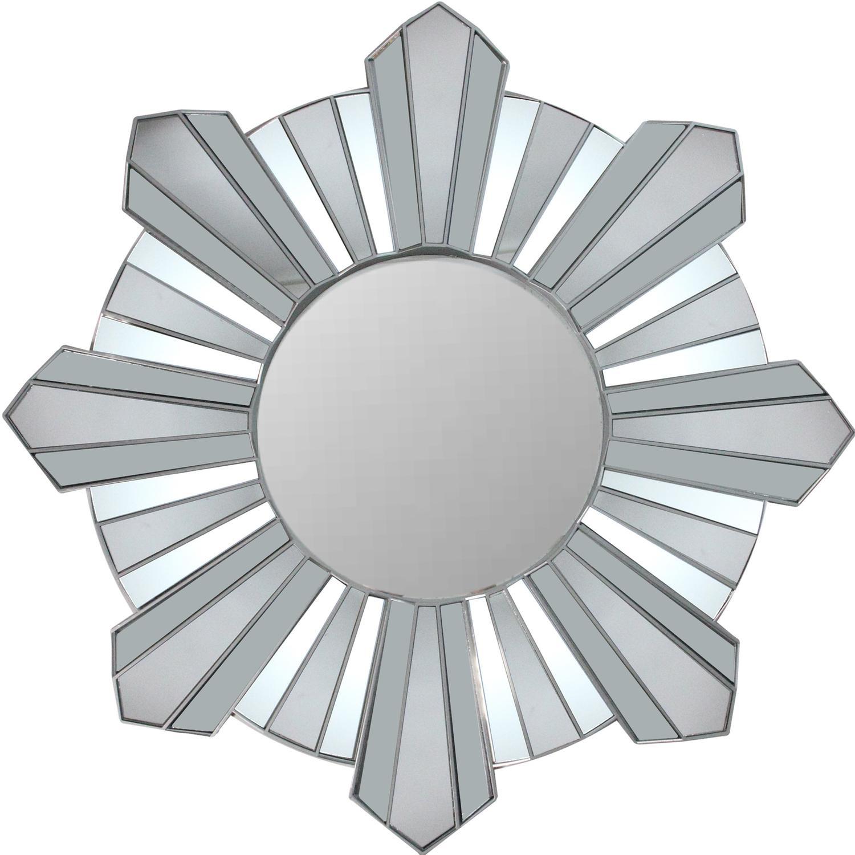 """25"""" Sparkling Sunburst Wave Matte Silver Wall Mirror"""