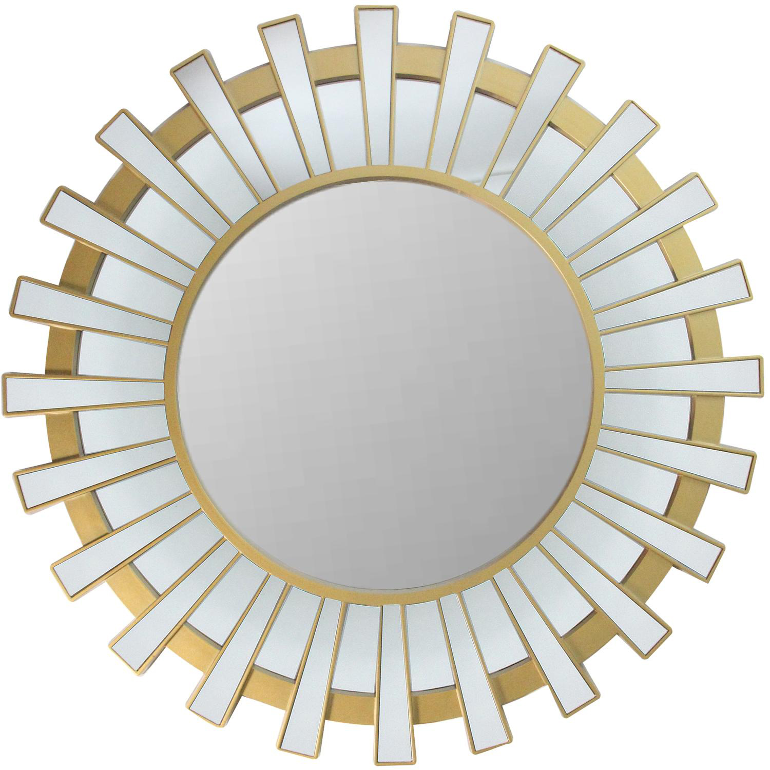 "25.5"" Sparkling Regal Sunburst Matte Gold Wall Mirror"
