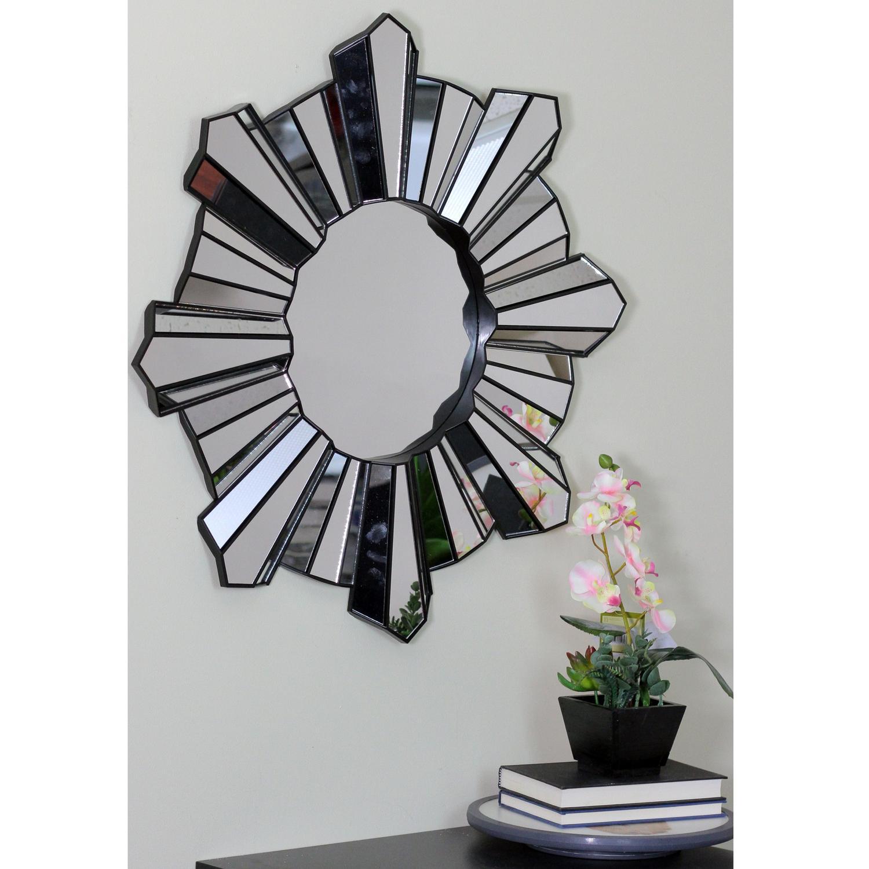 """25"""" Sparkling Sunburst Wave Matte Black Wall Mirror"""