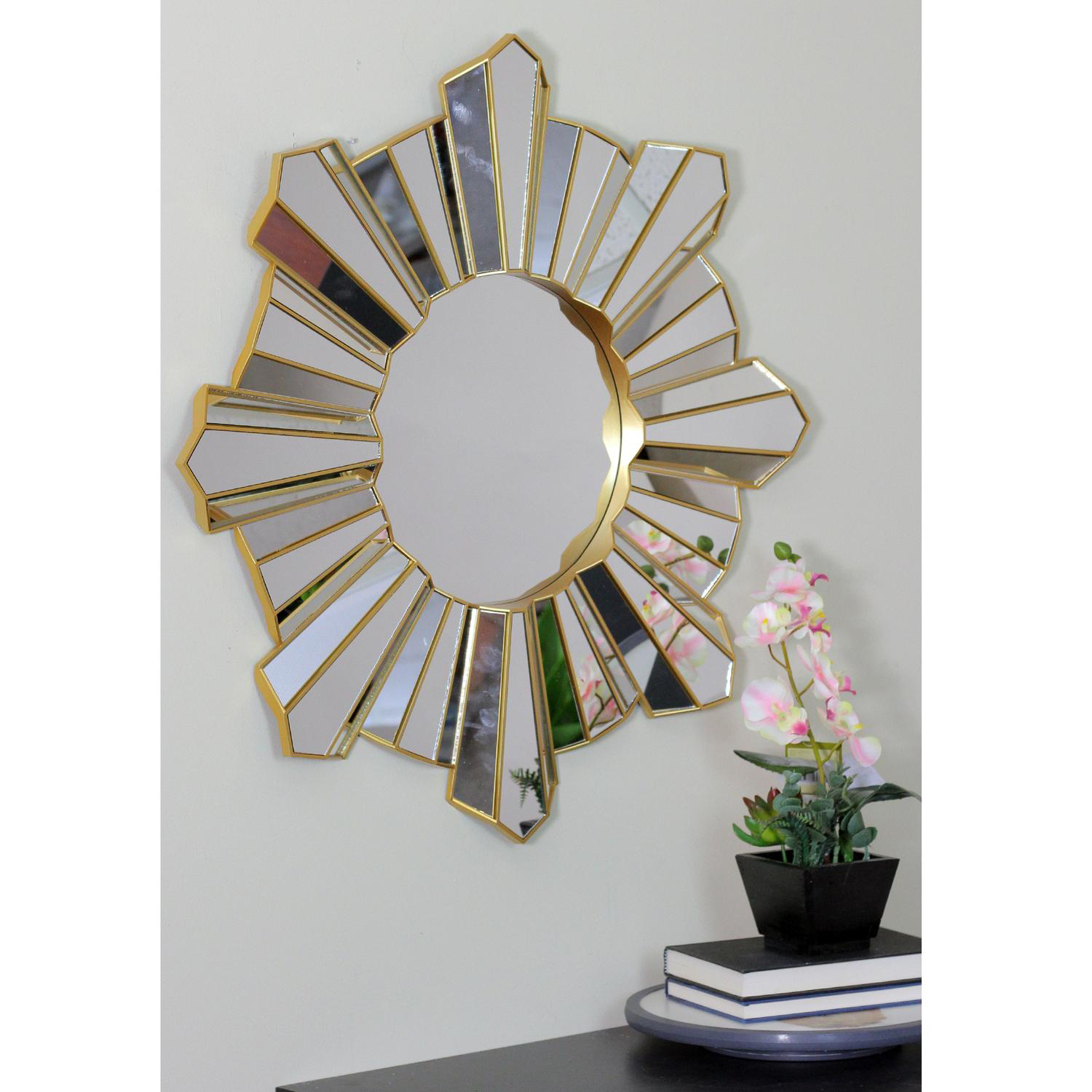 "25"" Sparkling Sunburst Wave Matte Gold Wall Mirror"