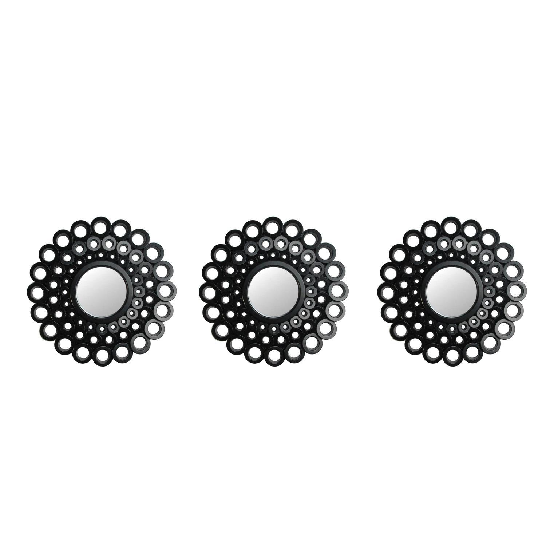 "9.5"" Matte Black Cascading Angular Orbs Round Mirrors Set of 3"
