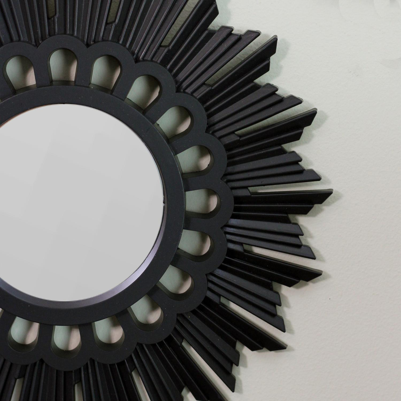 """9.5"""" Matte Black Floral Sunburst Inspired Round Mirrors Set of 3"""