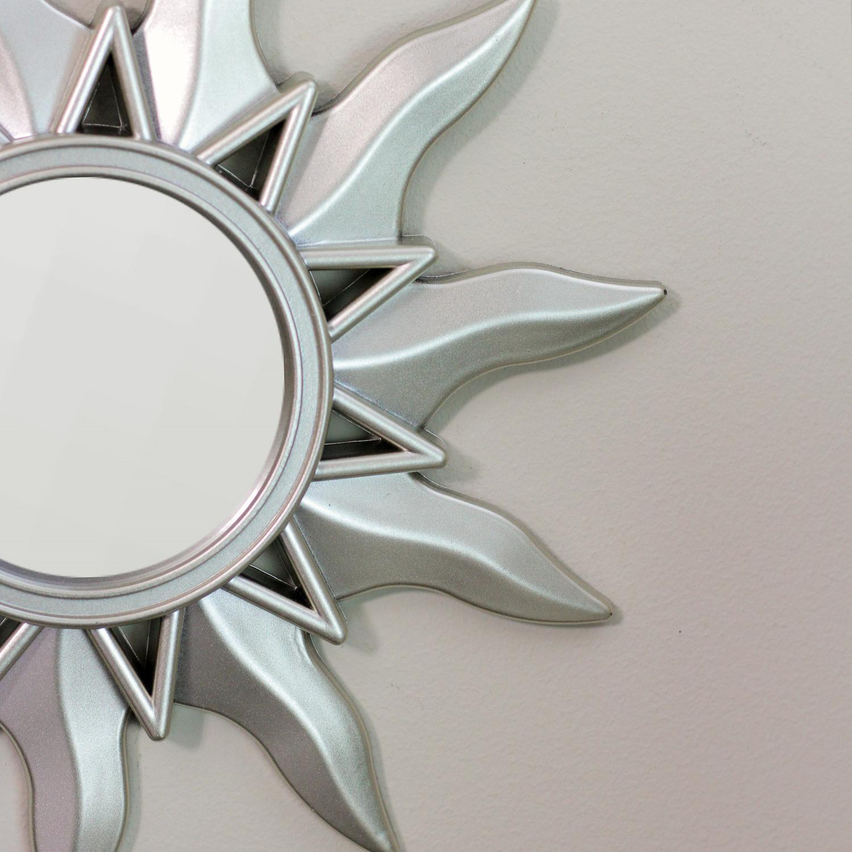 "9.5"" Matte Champagne Myan Inspired Petite Sunburst Round Mirrors Set of 3"