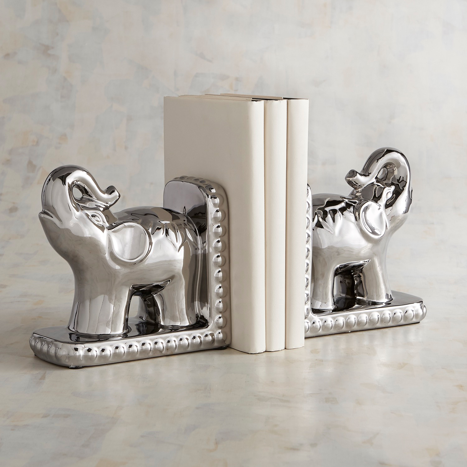 Silver Elephant Bookend Set
