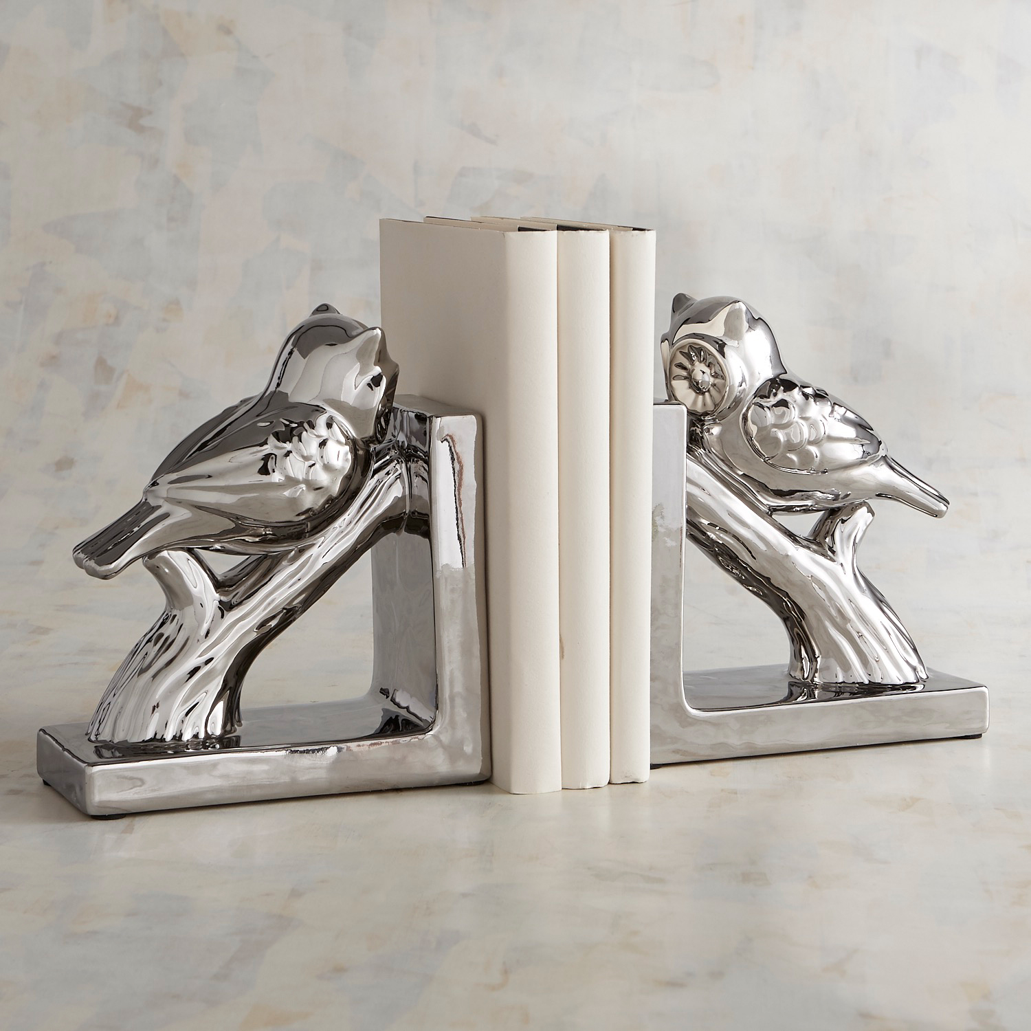 Silver Owl Bookend Set