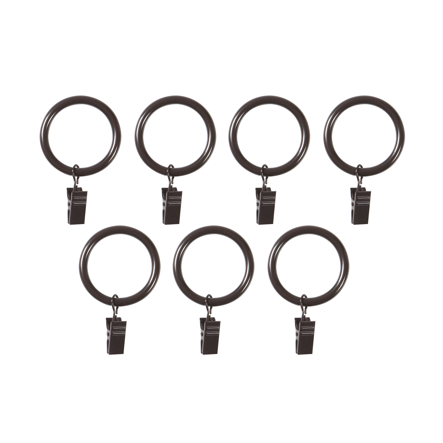 Espresso Large Curtain Clip Rings, Set of 7
