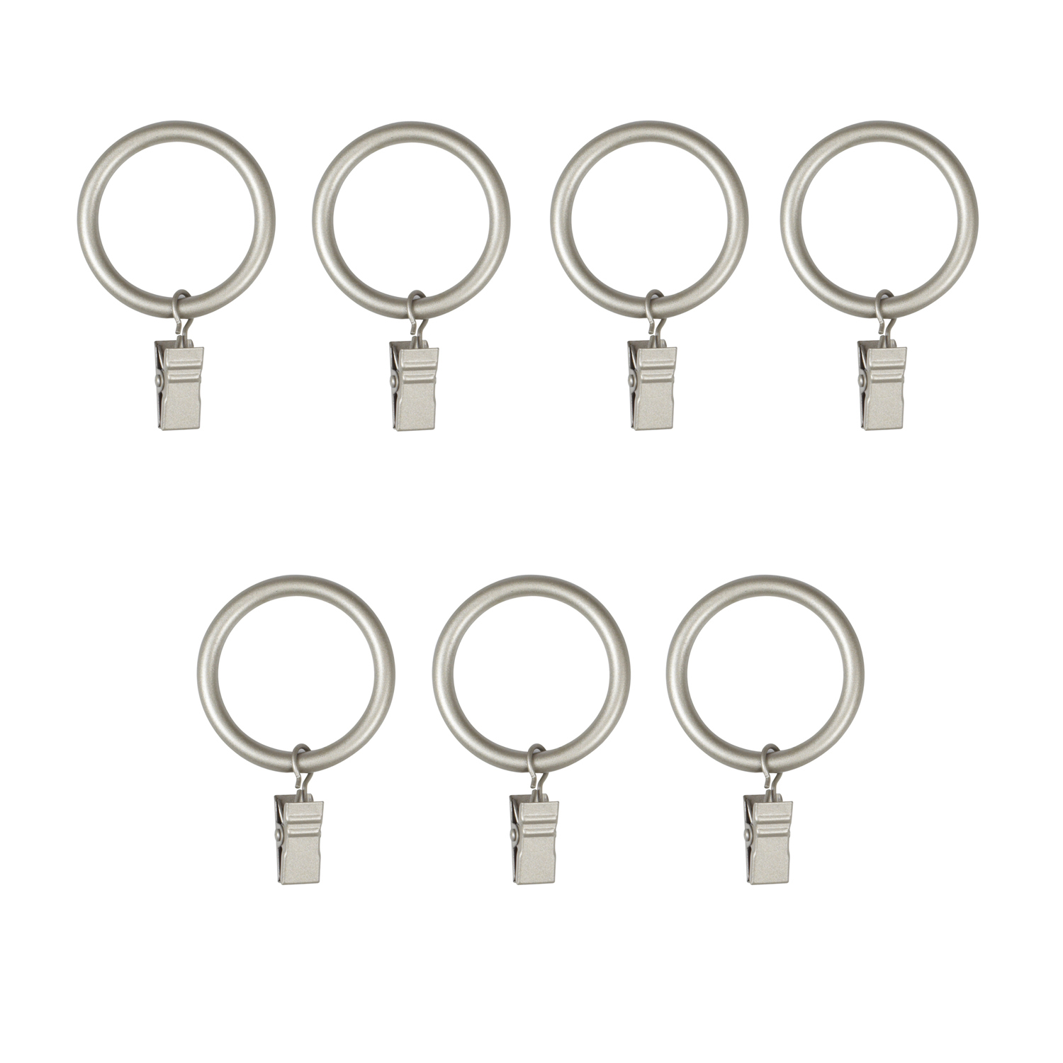 Nickel Large Curtain Clip Rings, Set of 7