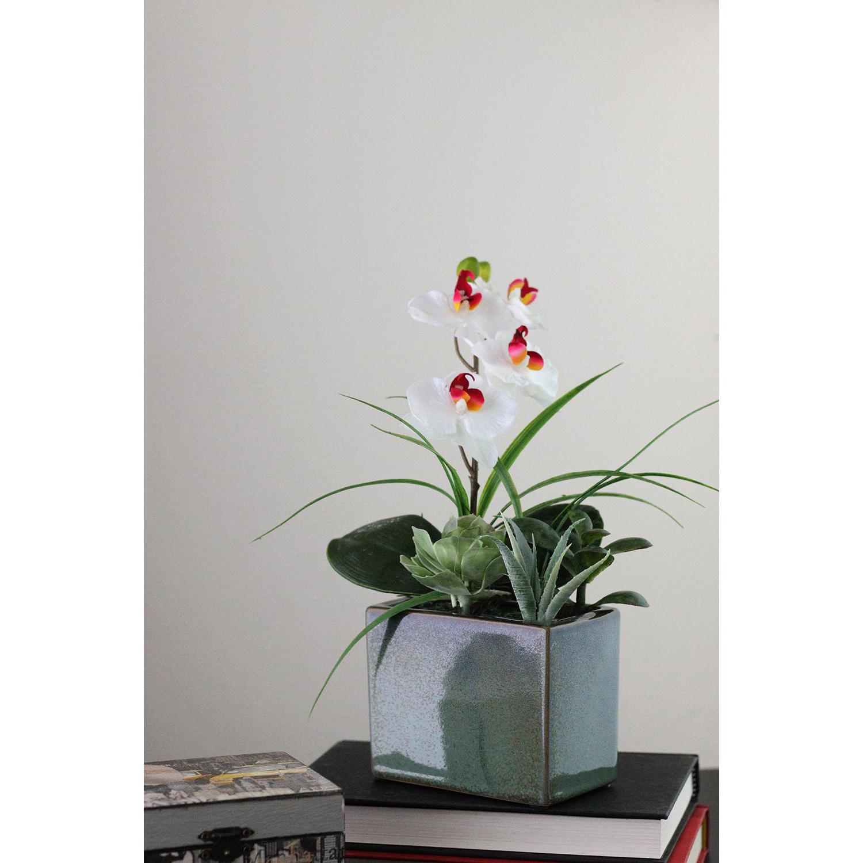 Faux Easter Orchid & Succulent Floral Arrangement