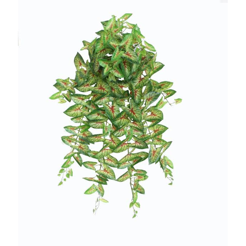 "39.50"" Decorative Artificial Green & Red Caladium Spring Floral Hanging Bush"