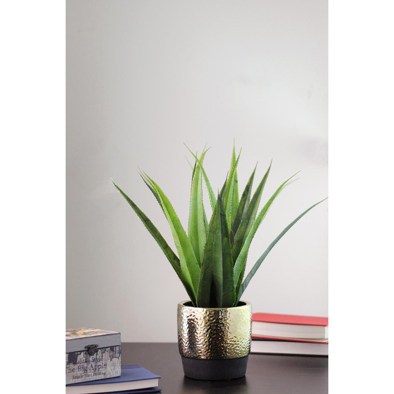 Faux Succulent Agave Arrangement in Gold Ceramic Pot
