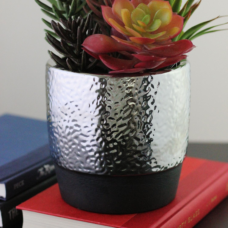 Faux Succulent & Agave Arrangement in Silver Ceramic Pot
