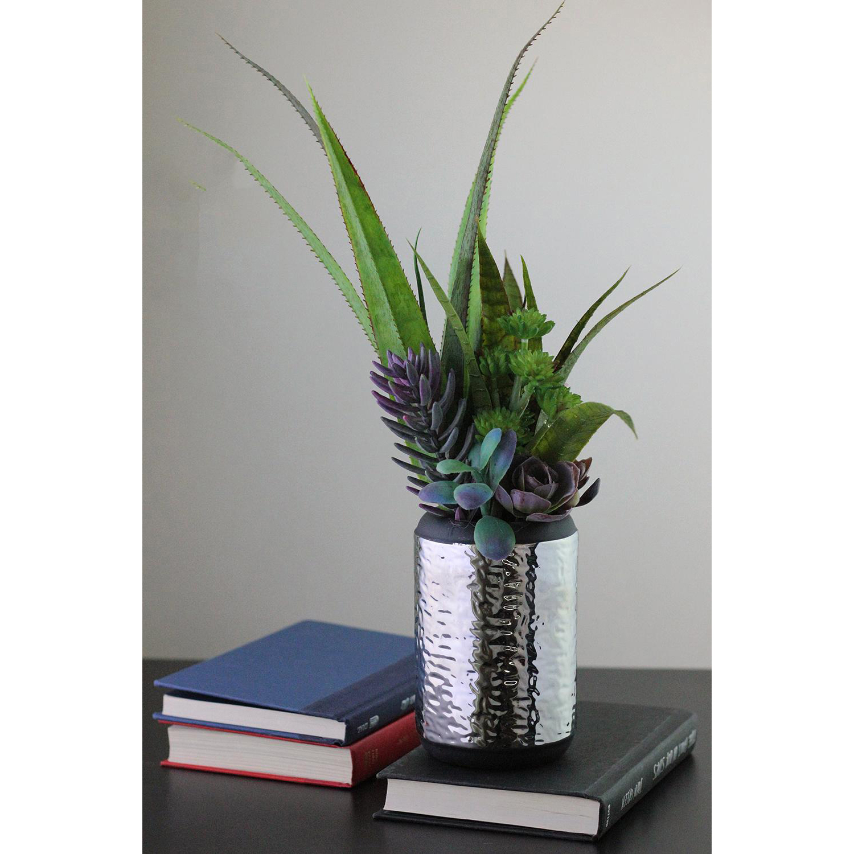 Faux Mixed Succulent & Agave Arrangement in Silver Ceramic Pot