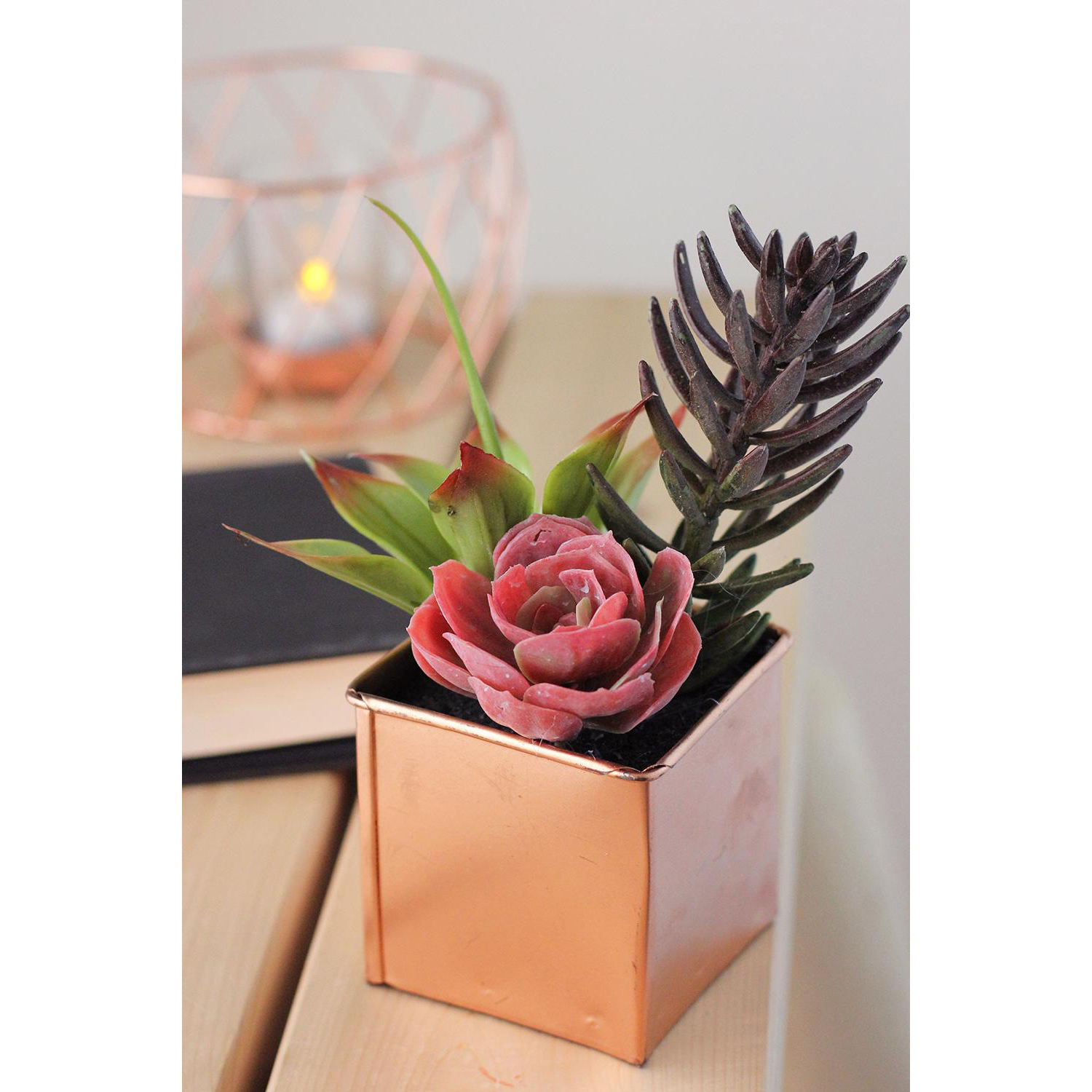 Artificial Mixed Succulent Arrangement in Decorative Copper Square Tin Pot