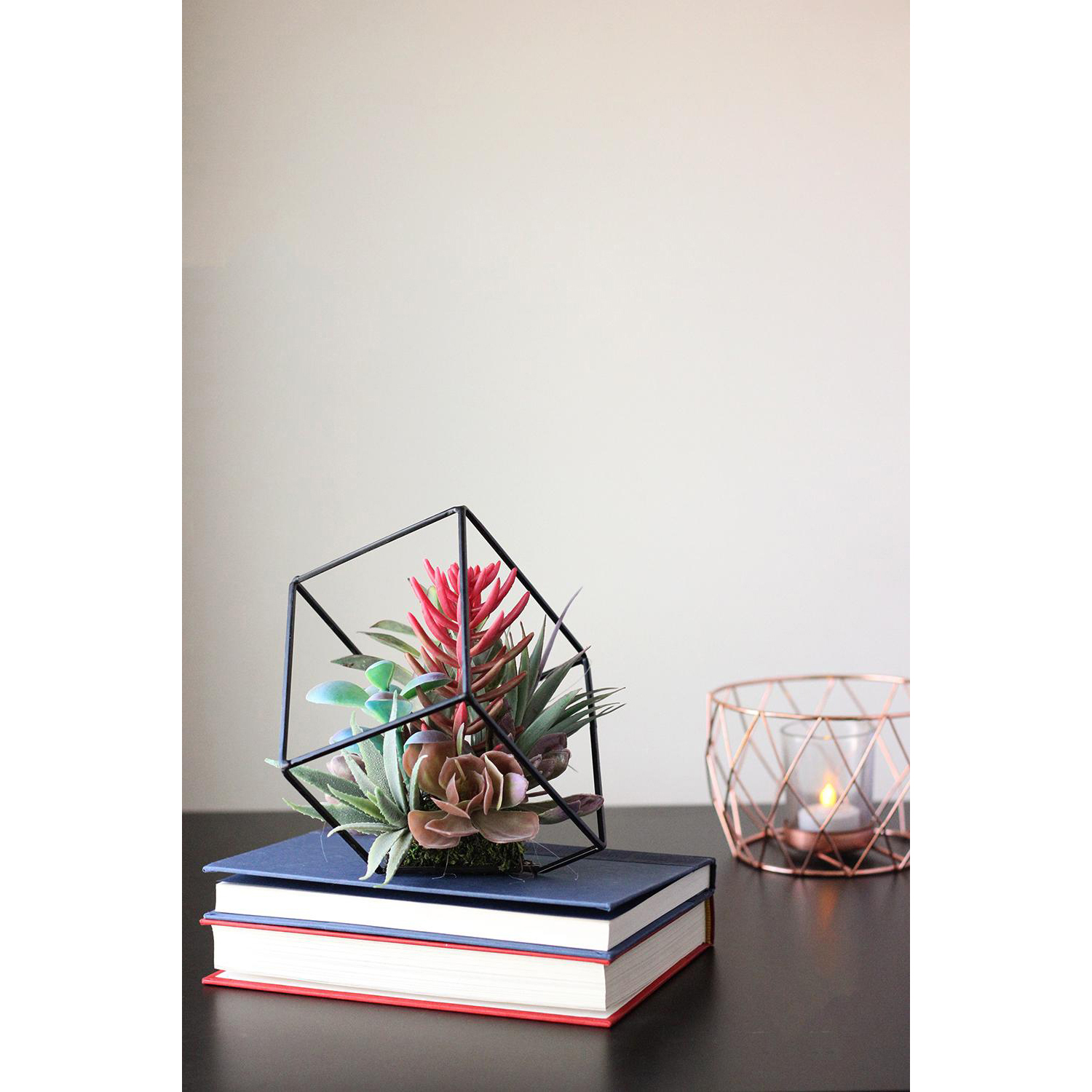 variation thumbnail of Artificial Succulents Arrangement in Decorative Offset Metal Wire Frame