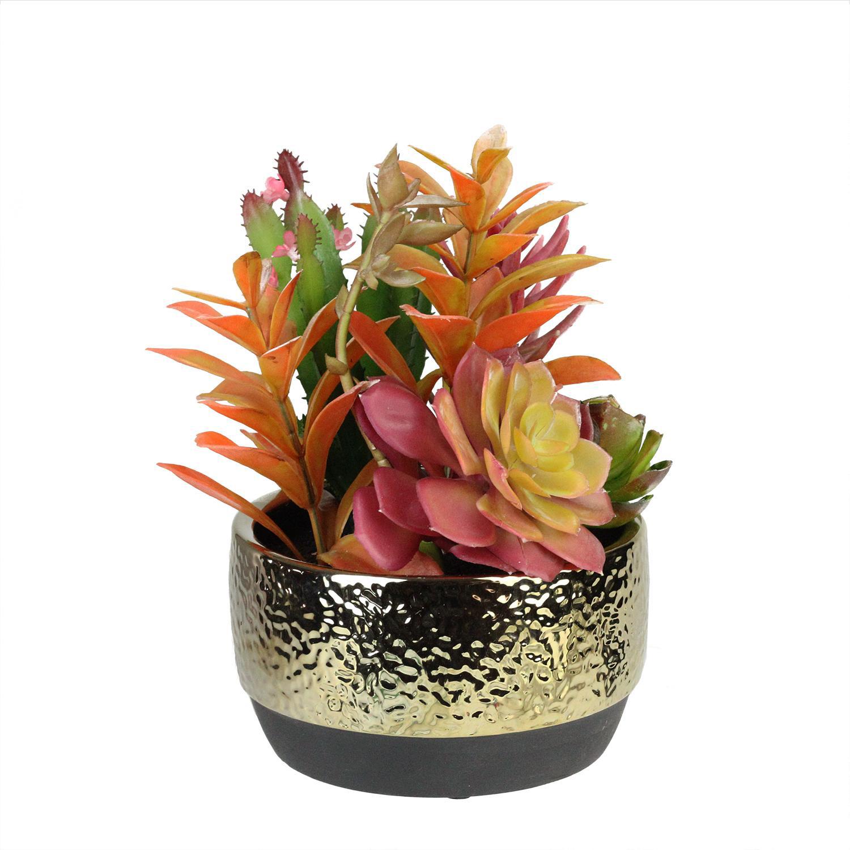 Faux Succulent Arrangement in Gold Ceramic Pot