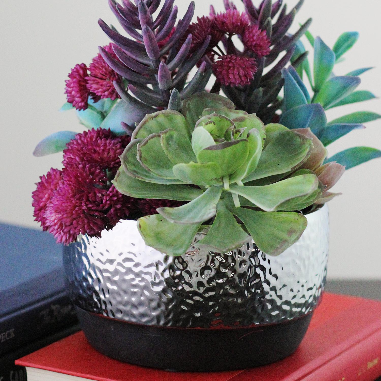 Artificial Succulent Arrangement in a Decorative Silver Ceramic Pot