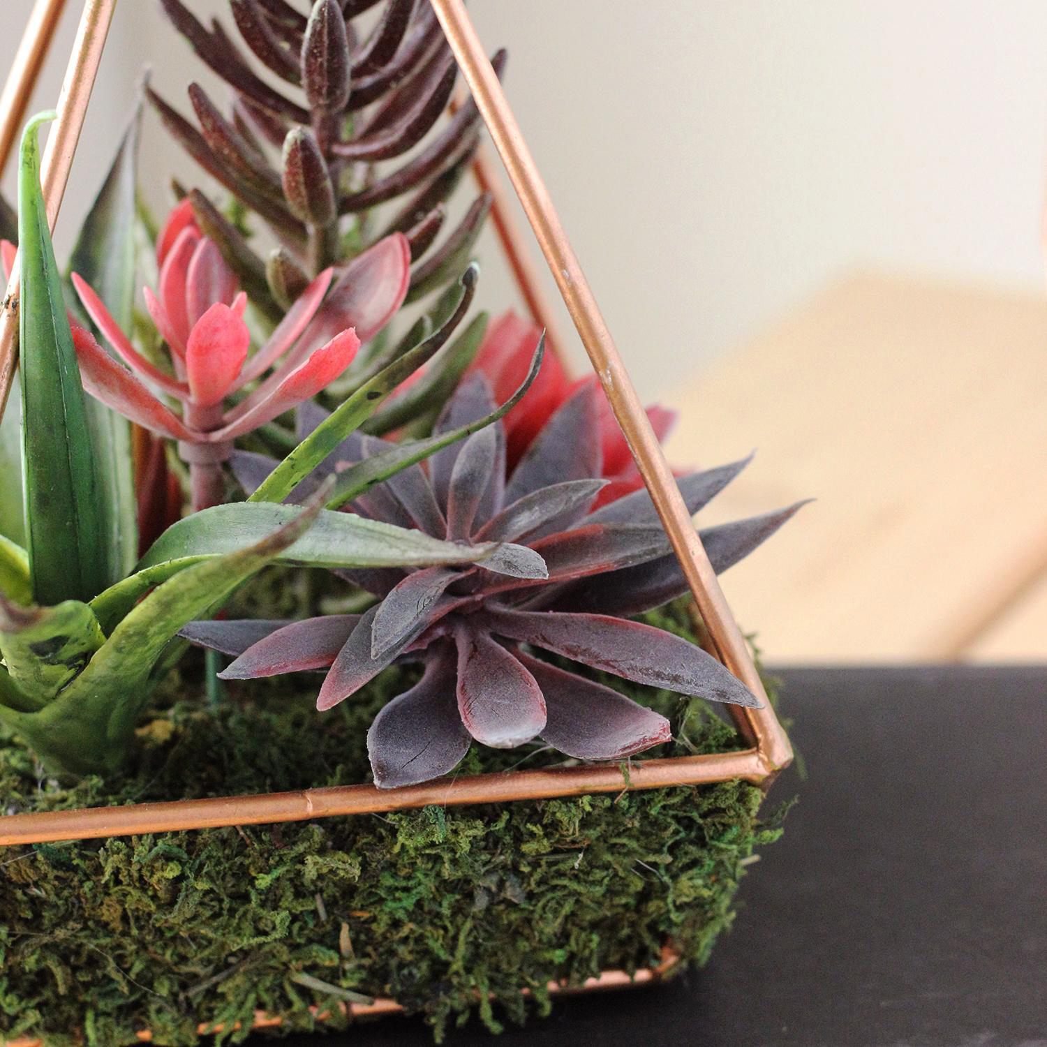 Artificial Succulents Arrangement in 4-Sided Copper Metal Wire Frame