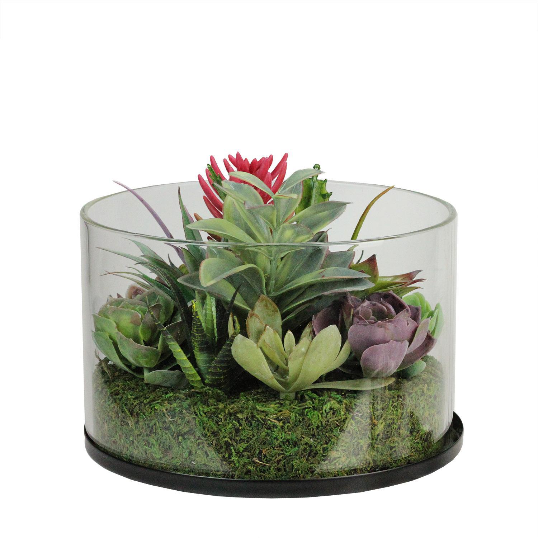 Faux Mixed Succulent Arrangement in Glass Jar