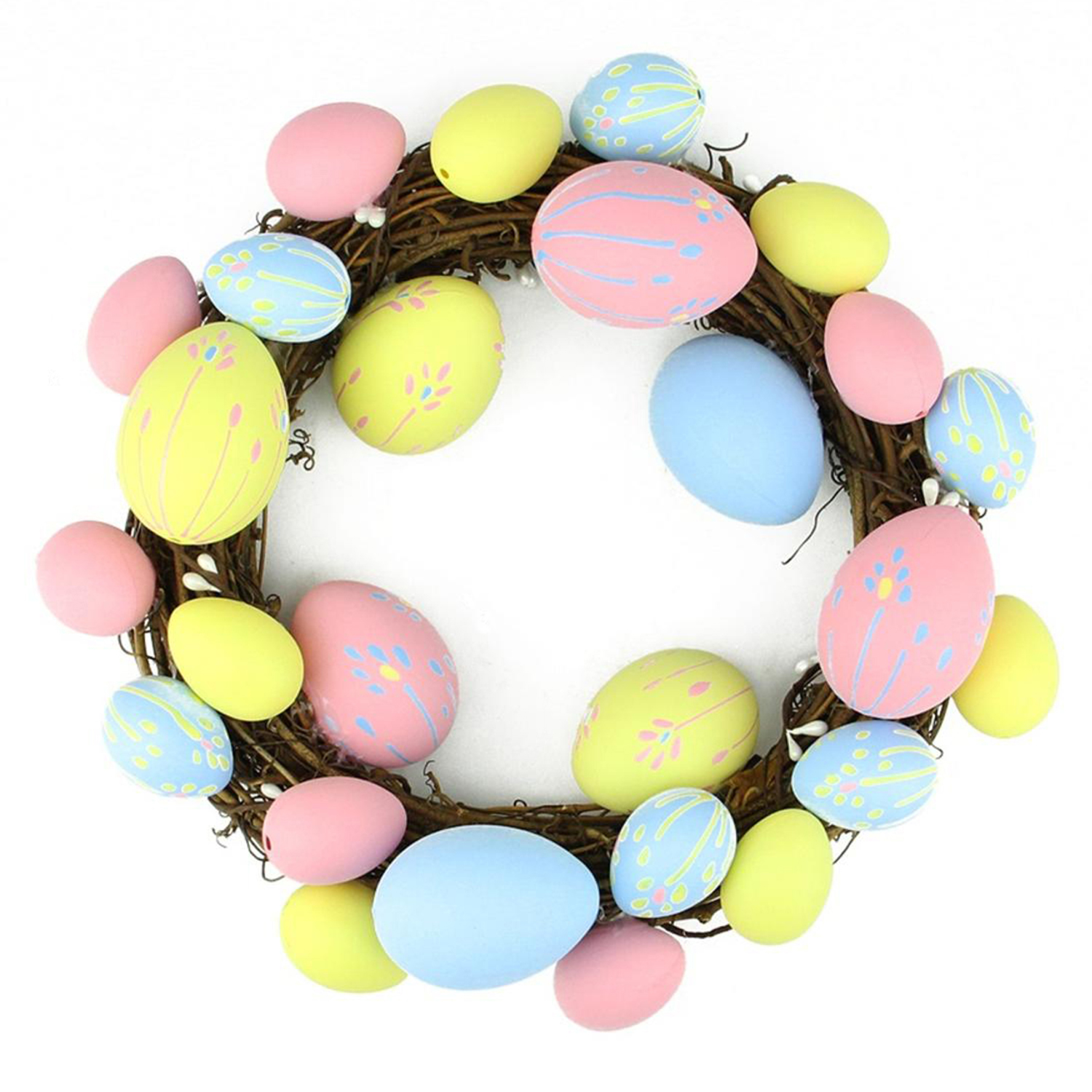 """Pastel Pink, Yellow & Blue Easter Egg 10"""" Wreath"""