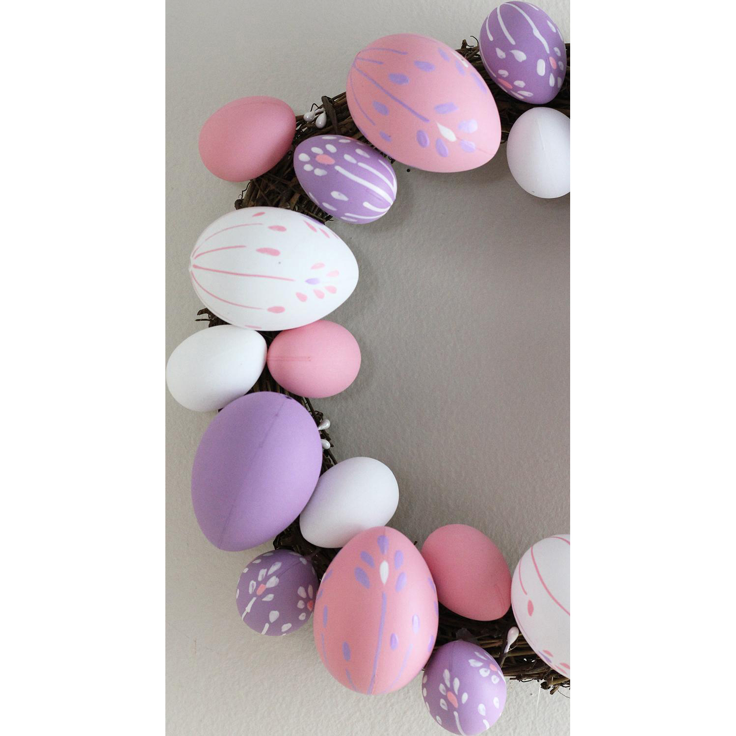"""Pastel Pink, Purple & White Easter Egg 10"""" Wreath"""